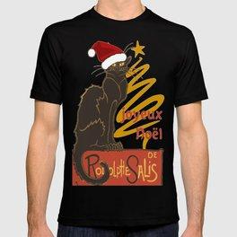 Joyeux Noel Le Chat Noir With Stylized Golden Tree T-shirt