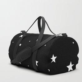 Scattered Stars - white on black Duffle Bag
