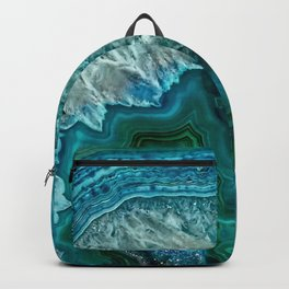 Aqua turquoise agate mineral gem stone - Beautiful Backdrop Backpack