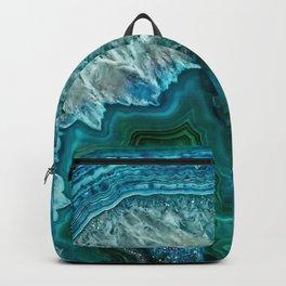 Aqua turquoise agate mineral gem stone Backpack