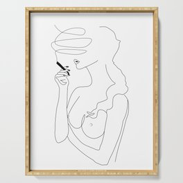 Woman Smoking Serving Tray