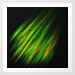 Colorful neon green brush strokes on dark gray Art Print