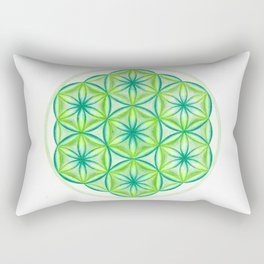 Flower of Life Heart Chakra - The Rainbow Tribe Collection Rectangular Pillow