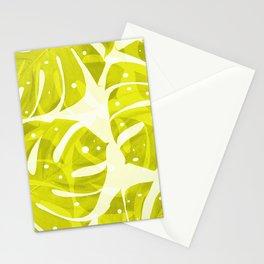 Lime Green Monstera Leaves Light Background #decor #society6 #buyart Stationery Cards
