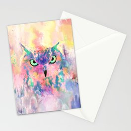 Watercolor eagle owl abstract paint Stationery Cards