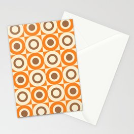 Mid Century Square and Circle Pattern 541 Orange and Brown Stationery Cards