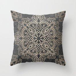 Mandala White Gold on Dark Gray Throw Pillow
