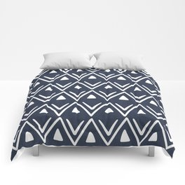 Etched Zig Zag Pattern in Navy Blue Comforters