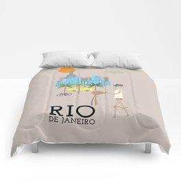 Rio - In the City - Retro Travel Poster Design Comforters