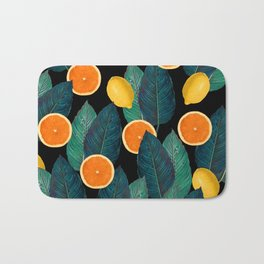 Lemons And Oranges On Black Bath Mat