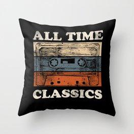 Retro Musik Kassette Skizze Vintage Audio Zeichnung Throw Pillow