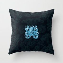 Octopus1 (Blue, Square) Throw Pillow