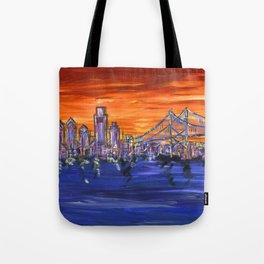 Ben Franklin Bridge Sunset Tote Bag