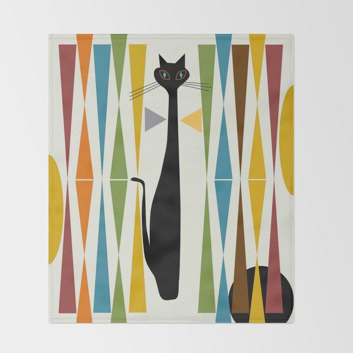 Mid-Century Modern Art Cat 2 Throw Blanket