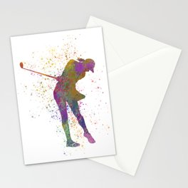 Female golf player competing in watercolor 01 Stationery Cards