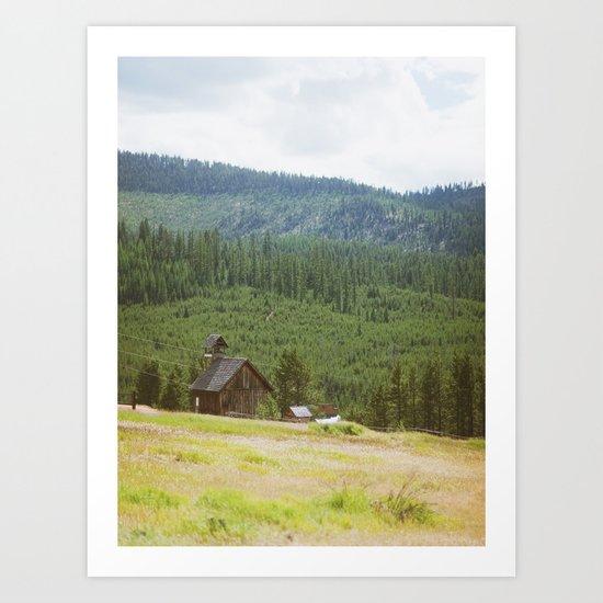 Forest Mountain Church Art Print