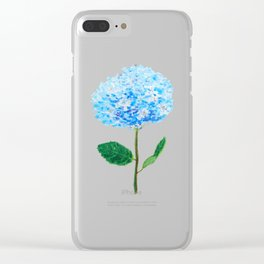 abstract blue hydrangea watercolor Clear iPhone Case