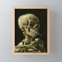 Skull of a Skeleton with Burning Cigarette by Vincent van Gogh Framed Mini Art Print