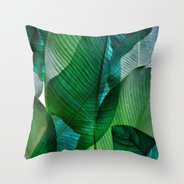 Palm leaf jungle Bali banana palm frond greens Throw Pillow