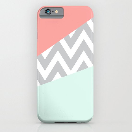 Original Mint & Coral Chevron Block iPhone & iPod Case