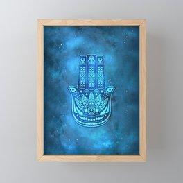 Hamsa Hand Magic Eye Blue Watercolor Art Framed Mini Art Print