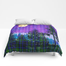 Moonlit Plaid Forest Comforters