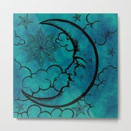 Moon vintage blue marine Metal Print
