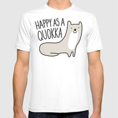 Happy Quokka White SMALL Mens Fitted Tee