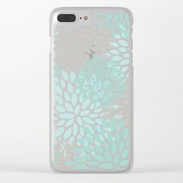 Floral Pattern, Teal, Aqua, Turquoise,Gray Clear iPhone Case