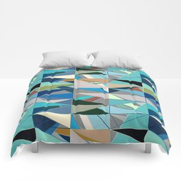 Mid-Century Modern Abstract, Turquoise and Neutrals Comforters