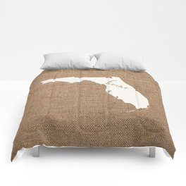 Florida is Home - White on Burlap Comforters