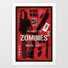 Zombie Emergency Kit Art Print