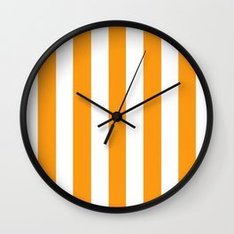 Kumquat orange - solid color - white vertical lines pattern Wall Clock