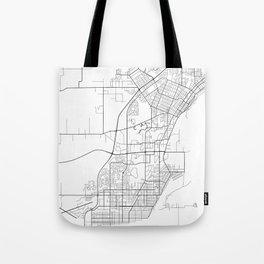 Thunder Bay Map, Canada - Black and White Tote Bag