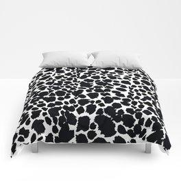 Animal Print Cheetah Black and White Pattern #4 Comforters