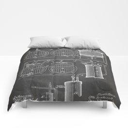 Brewery Patent - Beer Art - Black Chalkboard Comforters