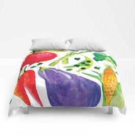 Veg Out - Vegetable, Veggies, Watercolor, Food, Beet, Carrot, Pea Comforters