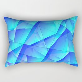 Abstract celestial pattern of blue and luminous plates of triangles and irregularly shaped lines. Rectangular Pillow