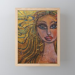Golden Dawn Big Eyed Girl Female Portrait Painting by Garden Of Delights Framed Mini Art Print