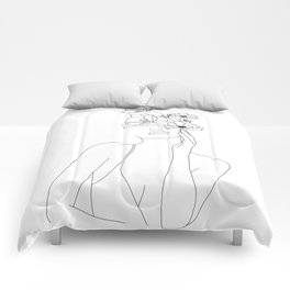 Minimal Line Art Woman with Flowers Comforters