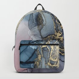 Blush, Payne's Gray and Gold Metallic Abstract Backpack