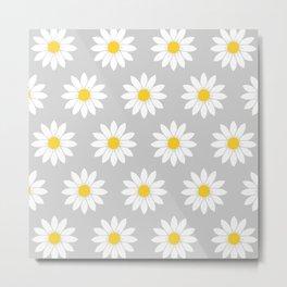 Daisies in Gray Metal Print
