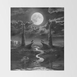 XVIII. The Moon Tarot Card Illustration Throw Blanket