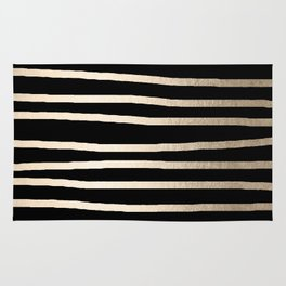 Simply Drawn Stripes White Gold Sands on Midnight Black Rug