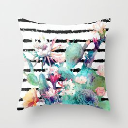 Pretty watercolor cactus floral and stripes design Throw Pillow