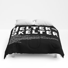 Helter Skelter (white on black) Comforters