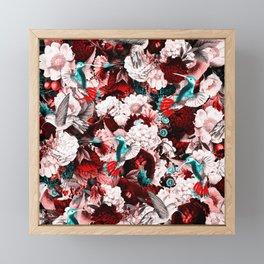 hummingbird paradise ethereal autumn flower pattern 2s Framed Mini Art Print