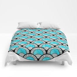 Aqua Art Deco Twenties Fan Pattern Comforters