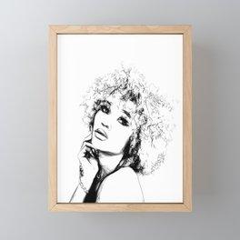 Black Woman Portrait Minimal Drawing Framed Mini Art Print