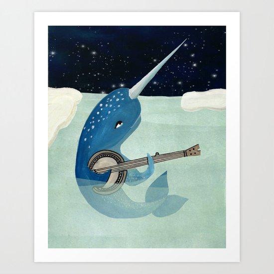 Narwhal's Aquarelle - Narwhal Plays Banjo Art Print